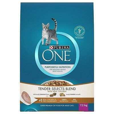 Purina ONE Tender Selects Blend with Real Chicken Adult Cat Food 7.2kg Bag New