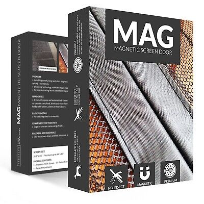 MAG Magnetic Mesh Screen Door 34 Inch - Bug Off Curtain Black New