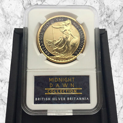 1 Oz Uk .999 Silver Britannia Coin- 24Kt Gold & Black Midnight Dawn Collection