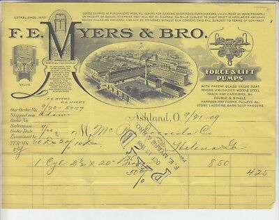F.E. MYERS & BRO. INVOICE DATED 9/21 - 09 Sold Hardware & Pullies, ETC.