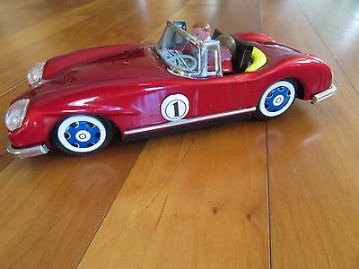 Red convertible race car tin litho friction mint  2 figures w/ box MF763 1980's