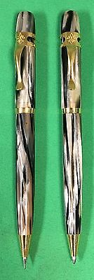 Visconti Ragtime Celluloid Black & Grey  Ballpoint Pen and Led Pencil Set