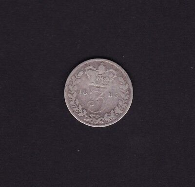 1885 Great Britain UK Victoria Threepence Silver Coin