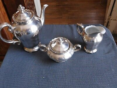 WMF HEINRICH PORZELLAN coffee service 3 pieces metal silver and porcelain