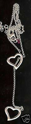2 Heart Silverplated Metal Necklace Pendant