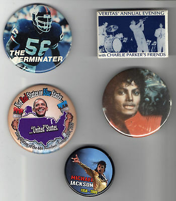 5 old AFRICAN AMERICAN pins political celebrity pins
