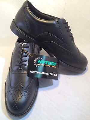 HUSH PUPPIES Hytest Men's Steel Toe Black Wingtip Oxfords, Sizes: 6-15 NEW!!