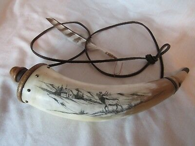 Vintage Scrimshaw Etched Horn with Wood Ends and Leather Strap