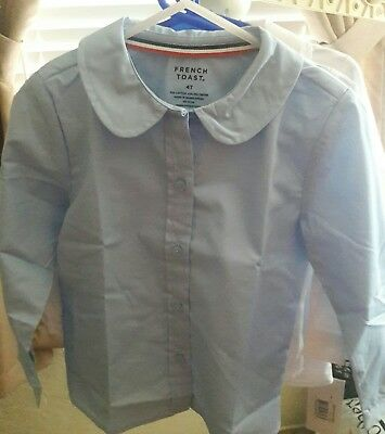 NWT French Toast Little Girls Toddler L/S Peter Pan Blouse Lot 4 4T Blue Uniform