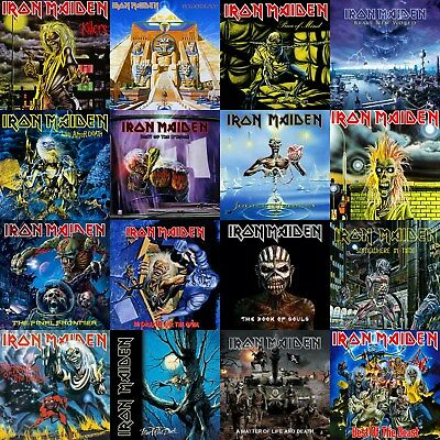 Iron Maiden Discography 12x12 Borderless Album Cover Collage Print Poster