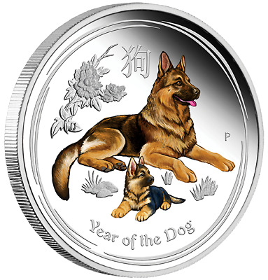 DOG AUSTRALIAN LUNAR 2018 1 oz Silver Proof COLOR Silver Coin - OGP - BOX & COA