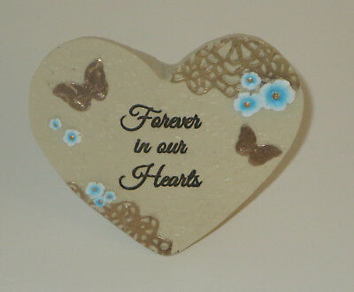 Forever In Our Hearts Memorial Grave Marker Heart Butterfly Resin Light Weight