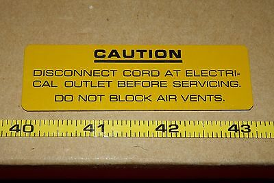 Sorvall T6000 Centrifuge 21990 CAUTION Label, Warning, High Voltage