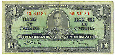 Bank of Canada 1937 $1 One Dollar Gordon-Towers E/M Prefix VF King George VI