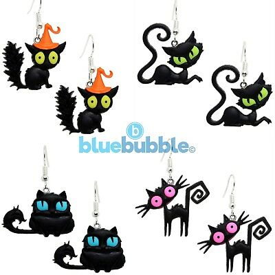 Bluebubble CRAZY CATS Earrings Halloween Funky Fancy Dress Scary Witch Animal