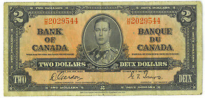Bank of Canada 1937 $2 Two Dollars Gordon-Towers H/B Prefix F/VF King George VI