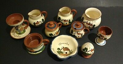 10 pieces Devon Torquay Motto Watcombe pottery, chips, jug, mustard, dish candle