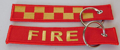 Fire Woven Keyring / Holder  Size 125Mm X 25Mm With Split Ring Rescue Fire