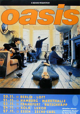 Rare Early Oasis 1994 Berlin Hamburg Koln Frankfurt German Tour Concert Poster