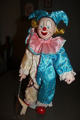 """Heritage Mint 16"""" Porcelian Clown Happiness & Love Tag & Stand"""