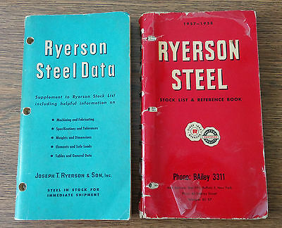 RYERSON STEEL Data reference books Stock List and Supplement 1956 to 1958 lot x2