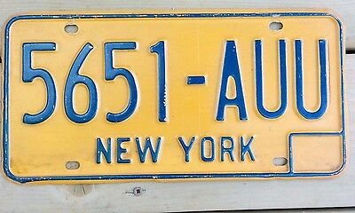 LICENCE PLATE New York state Blue on yellow/orange 5651-AUU