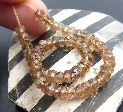 """61 BEAUTIFUL RARE AAAA+ GEM ROOTBEER ANDALUSITE 3.6-4mm RONDELLE BEADS 5"""""""