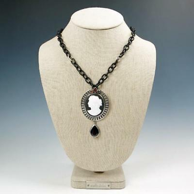 NWT AKR Amy Kahn Russell Sterling Silver Garnet Vintage Glass Cameo Necklace