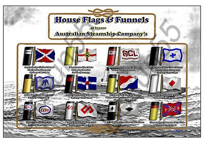Flag and Funnels of Australian Steamship Companies: Maritime Print: Aust 3.