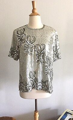 Magnificent Vintage Sequin Beaded Silver And Mint Glam Top, 100% Silk, M