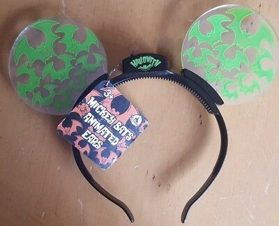 New DISNEY Parks 2017 Halloween Green Bat Mickey ears light up Animated headband