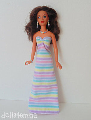 Vintage Kenner DARCI handmade MAXI GOWN & JEWELRY Clothes Fashion NO DOLL d4e