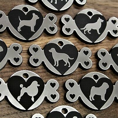 Trophy Silver Hearts Bone Pet Dog Tag ID Name Personalised Engraved Cat Tags