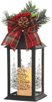 Black Plastic Christmas Lantern 13 in. With Outdoor Resin Timer Flameless Candle