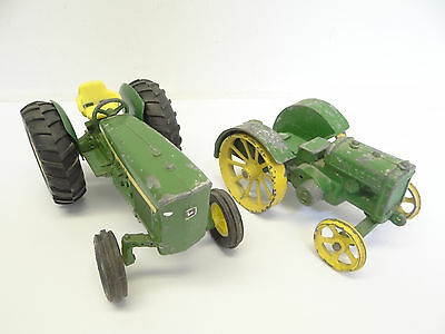 Two Vintage Used Cast Iron Metal John Deere Green Farm Tractor Toys Old