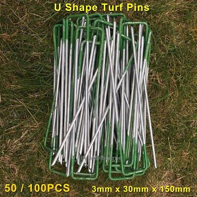 U Shape Green Tip Artificial Synthetic Fake Grass Turf Lawn Pegs Pins Multi-Use