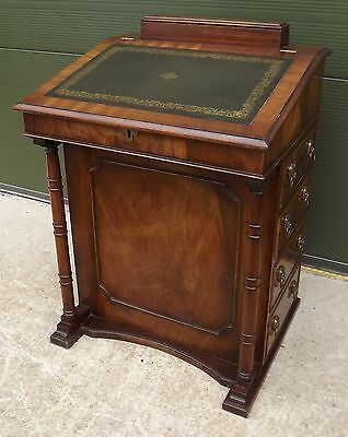Antique Style Mahogany Leather-Topped Davenport Writing Desk With Drawers