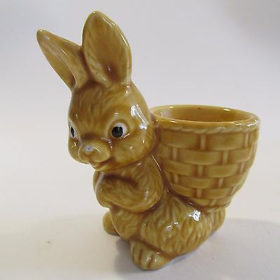 Cute Yellow Vintage 1950s Ceramic Rabbit Easter Egg Cup Kitchenalia