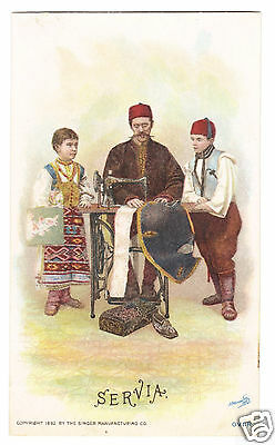 Servia Man Sewing- 1892 Singer Sewing Machine -Costume of Nations Series