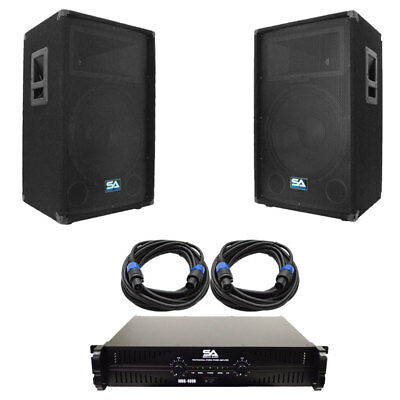 """Seismic Audio Pair of 15"""" PA DJ Speakers with Amplifer & 25' Cables"""