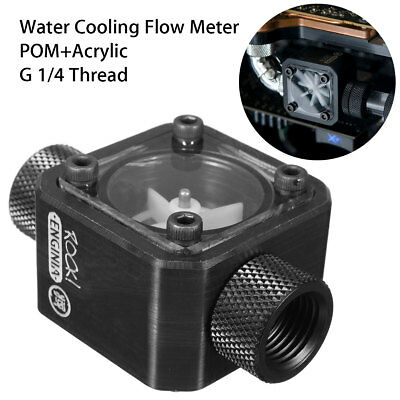 Black Water Cooling Flow Meter Acrylic + POM With 2 Way G1/4 Threaded Screw New