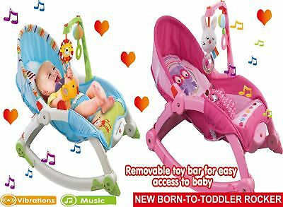 Infant-to-Toddler Soothing Rocker Newborn Music Adjustable Bouncer Chair 18kg UK