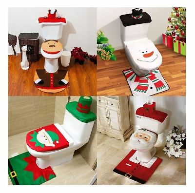 Hot Lovely Christmas Toilet Seat Cover Decoration Set Elf,Snowman,Reindeer,Santa