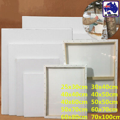 5pcs Artist White Blank Stretched Canvas Wood Frame Rect Paint Board Art SMUK673