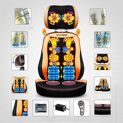 Electric Heated Massage Chair Pad Seat Office Car Cushion Back Neck Portable