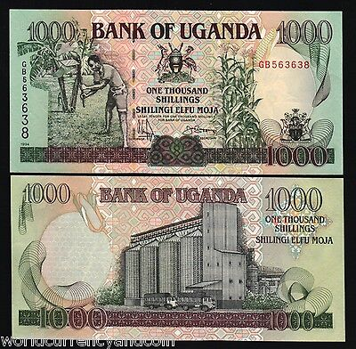 UGANDA 1000 SHILLINGS P36a 1994 HORSE TRUCK UNC AFRICA CURRENCY MONEY BILL NOTE