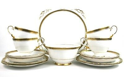 Mid Century Tuscan Bone China Tea Set White Gilt Greek Key 4 Trios Cake Plate
