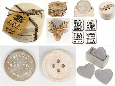 Coffee Tea Coasters - Wood Log, Stag, Rich Tea Biscuit, Heart, Button, Stone