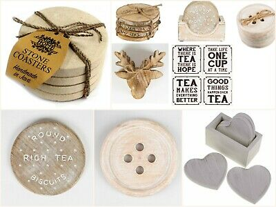 Coffee Tea Coasters - Wood Log, Stag, Rich Tea Biscuit, Heart, Button