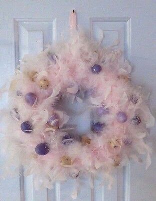 Light Pink Marabou Feather Wreath Easter Wreath with Purple and White Eggs